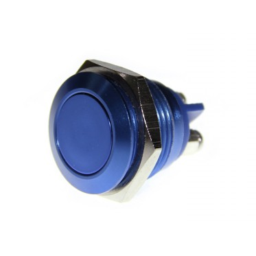 16mm Anti-vandal Metal Push Button - Royal Blue