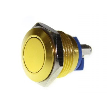 16mm Anti-vandal Metal Push Button - Glory Gold