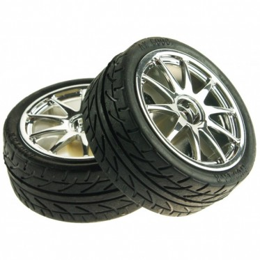 D65mm Rubber Wheel Pair - Silver (without shaft)