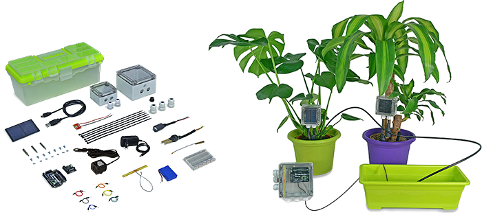 Open garden hydroponics plants monitoring for