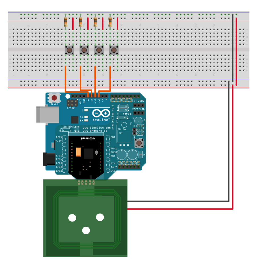 How To Change Keys On Rfid Tags Nfc 1356mhz Key Digital Circuit Scheme Using A Password Red And Black The Two Long Rows Side Of Breadboard Provide Access 5 Volt Supply Ground Then Connect Pin 10